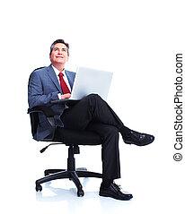 homem negócios, com, laptop, computer.