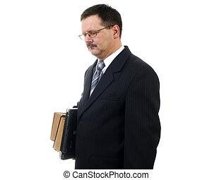 homem negócios, com, laptop, e, livros