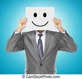 homem negócios, com, máscara sorridente