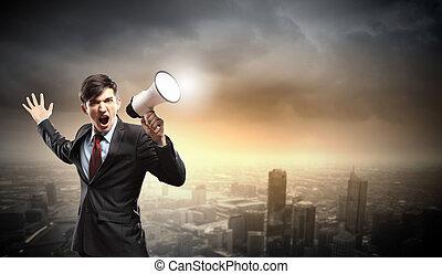 homem negócios, com, megafone