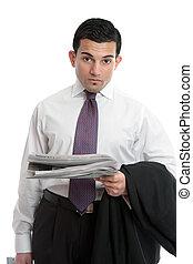 homem negócios, com, notícia financeira
