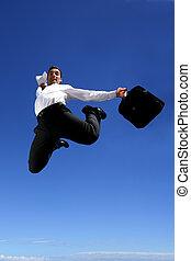 homem negócios, com, pasta, saltando alegria