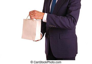 homem negócios, com, saco presente
