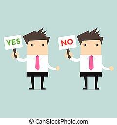 homem negócios, com, um, sinal, sim, e, não