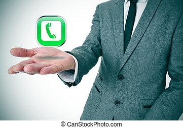 homem negócios, com, um, telefone, ícone, em, seu, mão