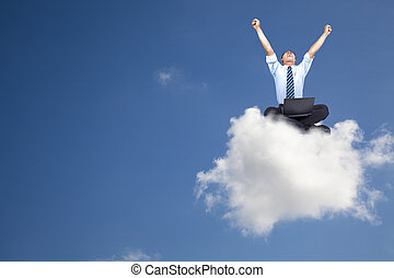 homem negócios, computador, jovem, nuvem, sentando