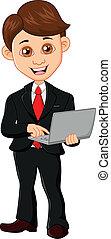homem negócios, computador, segurando