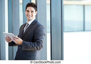 homem negócios, computador, tabuleta
