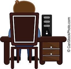 homem negócios, computador, trabalhando