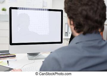 homem negócios, computador, usando, desktop