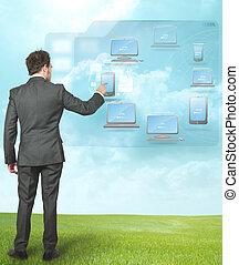 homem negócios, compute, trabalhando, nuvem