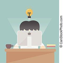 homem negócios, computer., trabalhando