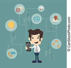 homem negócios, comunicação tecnologia