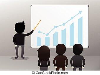 homem negócios, conceito, apresentação