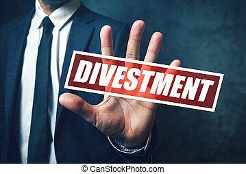 homem negócios, conceito, divestment, conjunto