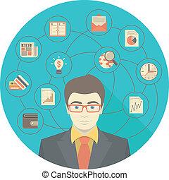 homem negócios, conceito, modernos