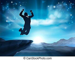 homem negócios, conceito, sucesso, pular