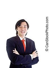 homem negócios, confiante, fundo, isolado, branca, sorrindo, asiático