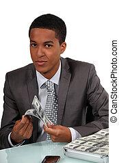 homem negócios, contagem, jovem, Dinheiro