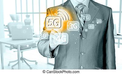 homem negócios, contendo mão, 5g, tecnologia, fundo