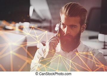 homem negócios, conversa, a, telefone, em, escritório