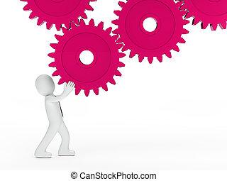 homem negócios, cor-de-rosa, mecânico, engrenagem