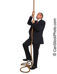 homem negócios, corda escalando