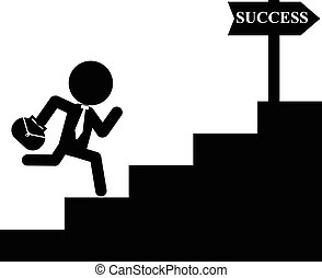 homem negócios, corrida, sucesso