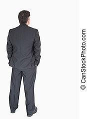 homem negócios, costas