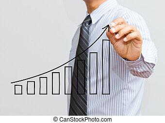 homem negócios, crescimento, desenho, gráfico