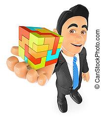 homem negócios, criar, conceito, cube., 3d