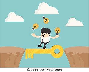 homem negócios, crucifixos, a, penhasco, com, chave de sucesso, ilustração