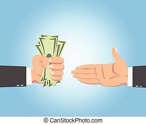 homem negócios, dando dinheiro