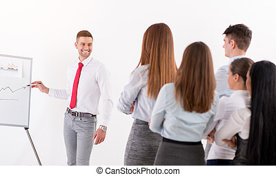 homem negócios, dar, apresentação