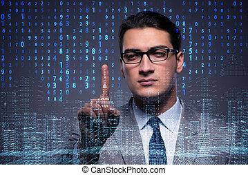 homem negócios, de, digital, idade, em, conceito