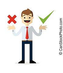 homem negócios, decisão, vetorial, fazer