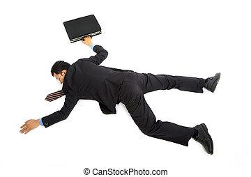 homem negócios, deitando-se, chão