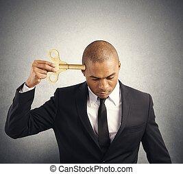 homem negócios, descarga, energia