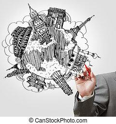 homem negócios, desenho, a, sonho, viagem, ao redor mundo, em, um, whiteboard