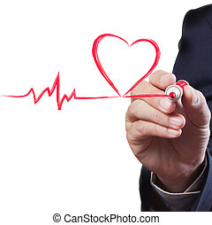 homem negócios, desenho, coração, respiração, linha,...