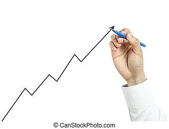 homem negócios, desenho, crescimento, gráfico