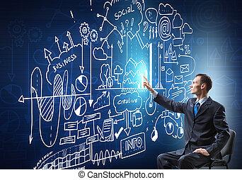 homem negócios, desenho, estratégia negócio