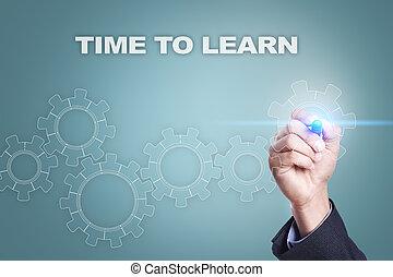 homem negócios, desenho, ligado, virtual, screen., tempo, aprender, conceito