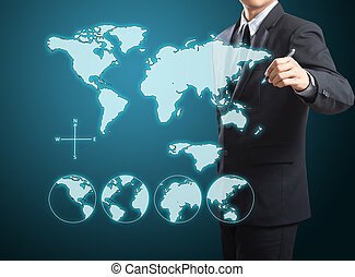 homem negócios, desenho, mapa mundial
