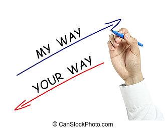 homem negócios, desenho, meu, maneira, e, seu, maneira, conceito