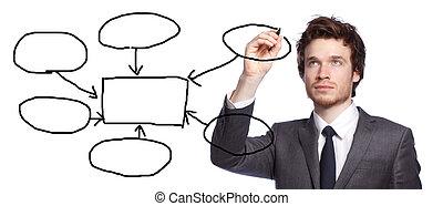 homem negócios, desenho, um, gráfico