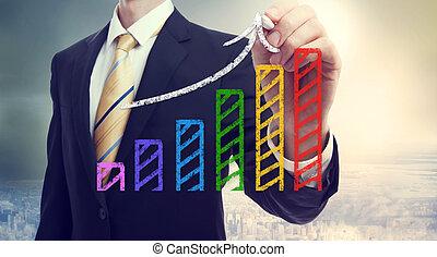 homem negócios, desenho, um, levantar, seta, sobre, um, gráfico de barras
