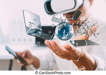 homem negócios, desgastar, realidade virtual, óculos proteção, em, modernos, escritório, com, telefone móvel, usando, com, vr, headset
