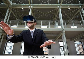 homem negócios, desgastar, realidade virtual, headset