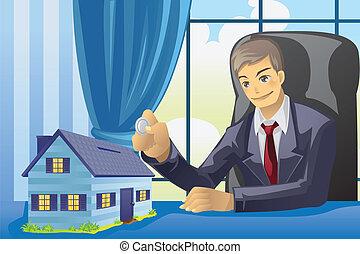 homem negócios, dinheiro saving